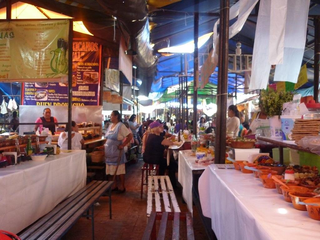 Stand de nourriture marché Mexico