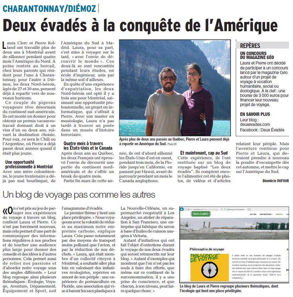 Deux Évadés sur le Dauphiné Liberé - Communication presse
