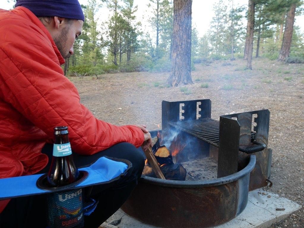 Un bon feu pour se réchauffer à Bryce