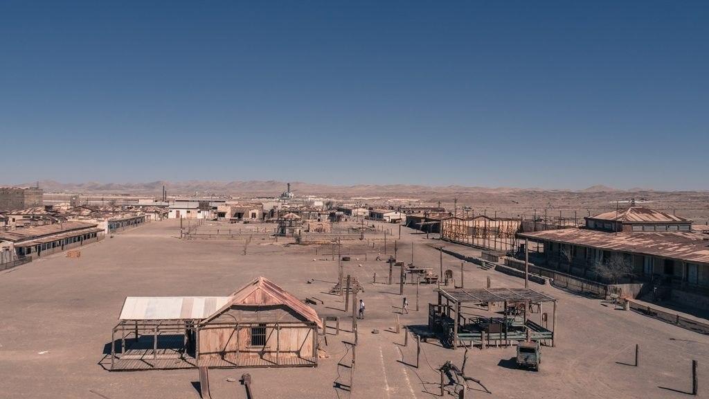 Vue sur la cité minière d'Humberstone et Santa Laura